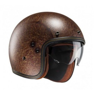 HJC FG-03s Vintage Open Face Helmet Brown