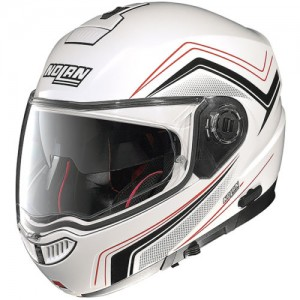 Nolan N104 Absolute Como White Red Flip Front Helmet