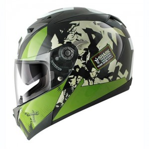 Shark S700S Trax Helmet Green White Black