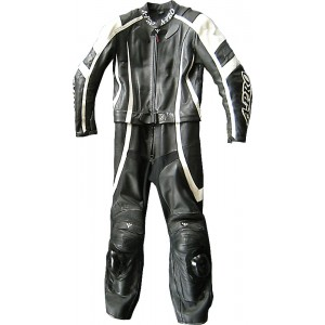 A-Pro Circuit 2 Piece Motorcycle Leather Suit - Black