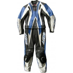 A-Pro Circuit 2 Piece Motorcycle Leather Suit - Blue
