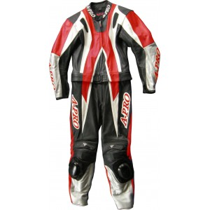 A-Pro Circuit 2 Piece Motorcycle Leather Suit - Red