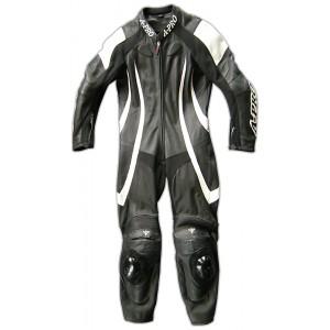 A-Pro Pilot 1 Piece Motorcycle Leather Suit - Black