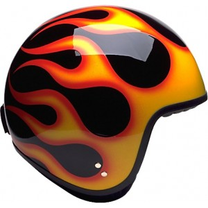 Davida Jet Complex Open Face Retro Motorcycle Helmet - Black / Orange Flames