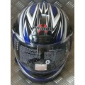 Demon Street Gloss Blue Silver Helmet