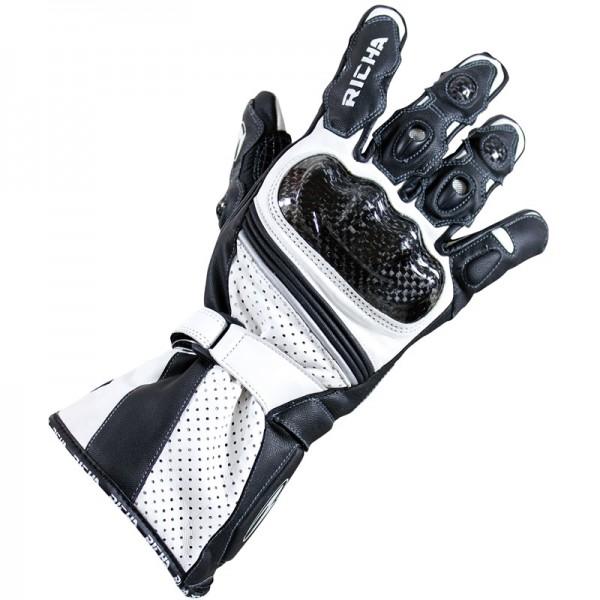 Sport Motorcycle Gloves: Richa Ravine Sport Summer Leather Motorcycle Gloves White