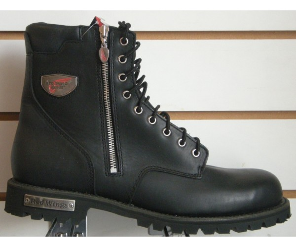 wing 979 lace up zip mens black motorcycle boots